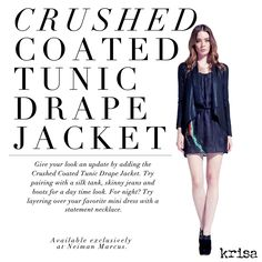 We are OBSESSED with the coated drape jacket by Krisa.  Get yours today at www.lashclothing.com!