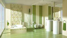 Decor Faianta Carioca Zefir Inserto B 25×40 - Un aranjament cu placi de faianta si gresie pentru baie in culori de verde pastelat si verde zefir combinat cu nuante de maro si bej cald ce vor transforma ambientul dumneavoastra in unul de invidiat. Bathtub, House Design, Curtains, Mansions, Mirror, Furniture, Home Decor, Bathrooms, Toilets