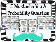 Probability Task Cards with Recording sheet **STACHE THEMED  This set of cards covers skills such as: **determining the probability of an event **stating whether an event is certain, impossible, least likely, most likely, or equally likely **compound events **combinations $ Fun Math, Math Activities, Maths, Fifth Grade Math, Math Classroom, Classroom Ideas, Math Workshop, Guided Math, Elementary Math