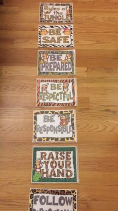 Back to School Jungle Theme Classroom Rules Posters