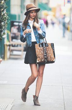 Miranda Kerr jean jacket and skirt -m perfect Fall look