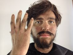 Done By Me : Learning how to create a scruffy homeless look at Makeup school. Greasepaint