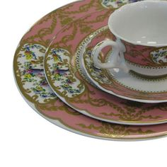 Classic Party Rentals, Sevres Antique Peach Pattern