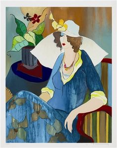 Tarkay, Itzchak Artist Pose II 2008 22 1/2'' x 17 1/2'' Serigraph in color on wove paper. Signed in pencil lower right.