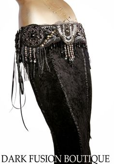 Belt, Medium, Black, Silver, Beads, Corset Belt, Fusion, Cabaret, Gothic, Glam, Steampunk, Tribal, Noir, Indian, Belly Dance, Sequins