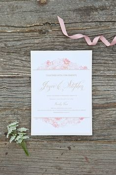 The soft pink wedding stationery. Click on the image to see our full gallery of this real wedding from Cotswolds.
