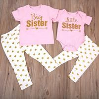5a756d94e1 Pink   Gold Big Sister Little Sister Outfit. Big Sister T ShirtLittle  SistersBig Sister Little SisterLong ...