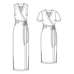 Sewing patterns for the modern woman. Dress Sewing Patterns, Clothing Patterns, Apron Patterns, Wrap Dress Patterns, Japanese Sewing Patterns, Pdf Patterns, Fashion Sewing, Diy Fashion, Sewing Clothes