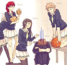 Genderbend Kuroko no Basket! Seirin Kagami Taiga, Kuroko Tetsuya, Hyuuga Junpei, Aida Riko & Kiyoshi Teppei