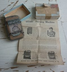 STAR Darning machine-- note the instruction image of the woman--Is that a sock on her hand? Sewing Box, Sewing Tools, Sewing Crafts, Art Tribal, Visible Mending, London Models, Make Do And Mend, Metal Spring, Darning