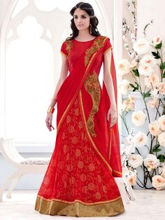 Charming red color net and lycra lehenga saree with floral print inner and zardosi, stones work. Item code: SAV3908 http://www.bharatplaza.com/new-arrivals/sarees.html