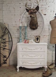 Painted Cottage Chic Shabby White Romantic by paintedcottages, $395.00...Night stands for master bedroom