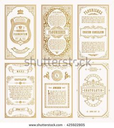 Line calligraphic frames. Floral royal engraving design labels advertising place for text. Logo Design, Menu Design, Label Design, Packaging Design, Wedding Logos, Wedding Cards, Save The Date Designs, 2 Logo, Gold Invitations