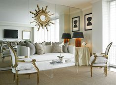 Extraordinary Beige White Traditional Superb Living Room Gold Mirrored Wall Picture.