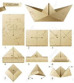 how to fold a origami sailboat - Google Search