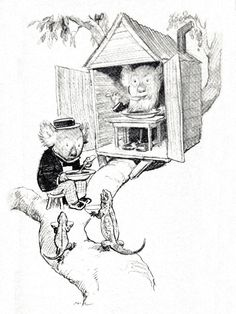 "Bunyip Bluegum and his Uncle Wattleberry in their tree-house, my favourite image from ""The Magic Pudding"" by Norman Lindsay"