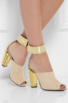 Fendi | Metallic leather and suede sandals | NET-A-PORTER.COM