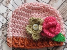 Preemie crocheted garden hat