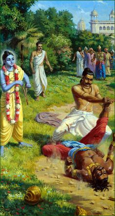 Seeing Krishna's transcendental hint of splitting a tree branch, Bhisma finally bifurcates Jarasandha.