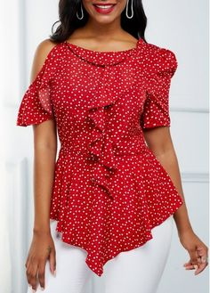 trendy tops for women online on sale Red Fashion, Fashion Outfits, Trendy Tops For Women, Fashion Photography Inspiration, Tie Shoes, Heart Print, Blouse Styles, Ruffle Trim, Printed Blouse