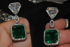 ONE of A KIND ~~~FINE RARE CUSTOM 19.81CT  EMERALD 7.52 SHIELD DIAMOND EARRINGS  #FrankGoodmanSonESTB1926 #DayorNightDangleDropEarrings
