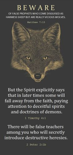 Be careful who you let lead you. Anyone can spout on about how they love Jesus, they can try to dress the part, but you can learn discernment over time with God's help. SO MANY false prophets today. They are everywhere...and they do not know our Lord so they cannot lead you.