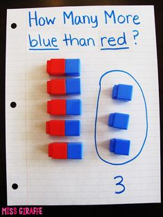 "Easy directions for how to explain to kids how to answer ""how many more?""…"