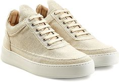 Filling Pieces Shoes - Tactile in linen-like fabric, these understated sneakers from Filling Pieces are an urban investment that will lend credible cool to your everyday edit. - #fillingpiecesshoes #beigeshoes