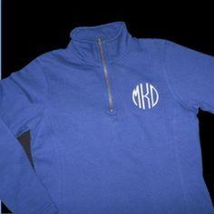 Monogram Quarter Zip Sweatshirt    Black sweatshirt. White or silver embroidery color in embroidery script.