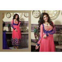 Light Pink and Royal Blue Marvelous Anarkali Suit