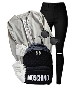 """""""Untitled #3636"""" by monmondefou ❤ liked on Polyvore featuring adidas and Moschino"""