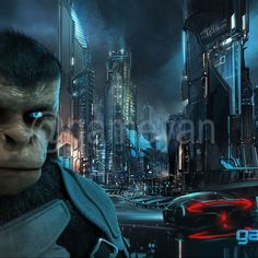 Cinematic Character of Kung Fu Ape - sci-fi Cartoon feature film
