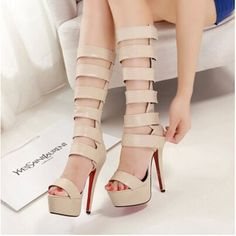Womens sandals summer 201514.5cm high heels and sexy Tall Velcro sandals hollow cool boots thick crust fish head shoes women alishoppbrasil