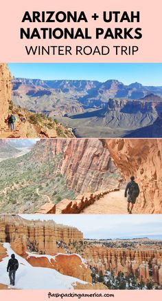 Grand Canyon - Zion - Bryce Canyon loop in 5 days: Arizona Utah national parks winter road trip from Phoenix 🚗⛄ Arizona National Parks, Grand Canyon National Park, Us Vacation Spots, Vacation Ideas, Travel Usa, Travel Tips, Travel Ideas, Travel Destinations, Paris Travel