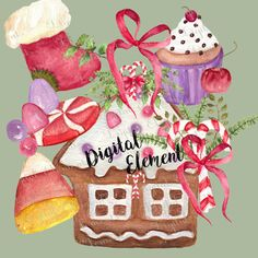 Christmas Clip-art Gingerbread House Clip-art by DigitalElement