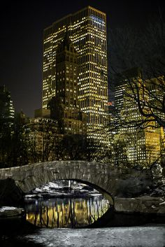 The Gapstow Bridge at night - Central Park, New York City