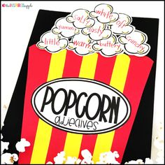 Teaching your kindergarten, first grade, and second grade students about adjectives and verbs has never been MORE FUN! You'll use popping popcorn (either in a microwave or with an actual popcorn popper) to teach your students about adjectives and verbs, e