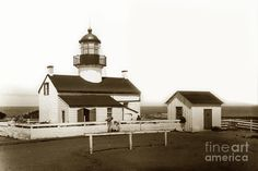 Point Pinos Lighthouse Pacific Grove California Circa 1895 Photograph by California Views Mr Pat Hathaway Archives