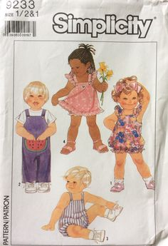 Simplicity 9233 UNCUT Toddlers Jumpsuit and Rompers, Pullover Sundress and Panties by Lonestarblondie on Etsy