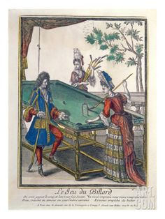 A Game of Billiards, Late Seventeenth Century (Coloured Engraving) Giclee Print by Nicolas Arnoult at Art.com