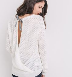 Maxi-Pullover mit Lochmuster ecru - Promod