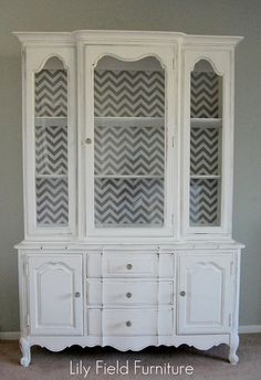 Inspiration for my china cabinet -   background design and gray antiqued look!