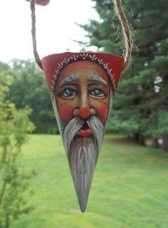 hand-painted santa ornament cone folk art