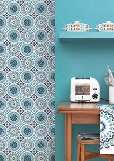 Mini Moderns 'Darjeeling' wallpaper in Lido colourway.