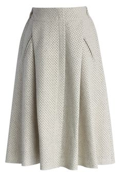 Eyelet Faux Suede Midi Skirt in Off-white