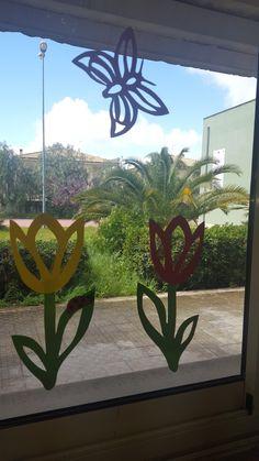Spring Art, Logs, Decoration, Classroom, Butterfly, Windows, Crochet, Plants, Funny Homework