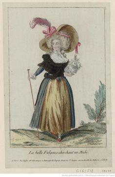 Titre :      La Belle Fulgence cherchant un miché : [estampe] / [non identifié]  Éditeur :      chez Basset (A Paris)  Date d'édition :      1788