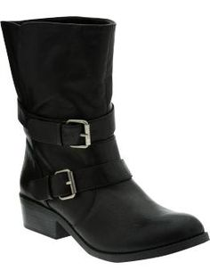 Women's Fold-Over Faux-Leather Ankle Boots at OldNavy.com $36 - perfect for a baby tee and jeans.