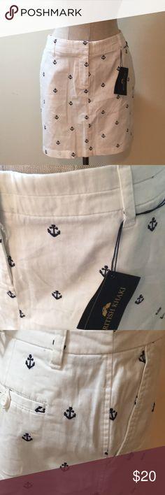 """British Khaki Nautical Skirt Size 6 NWT, British Khaki Nautical Skirt Women's Size 6, measures waistline to hemline 17"""" British Khaki Skirts"""