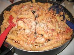 chicken riggies...  chicken, rigatoni and vodka cream sauce.